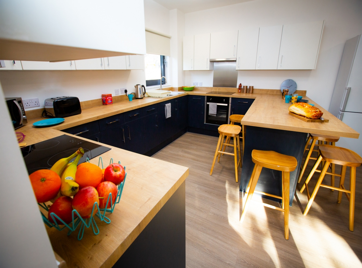 Packsaddle student accommodation kitchen interior at the University of Falmouth
