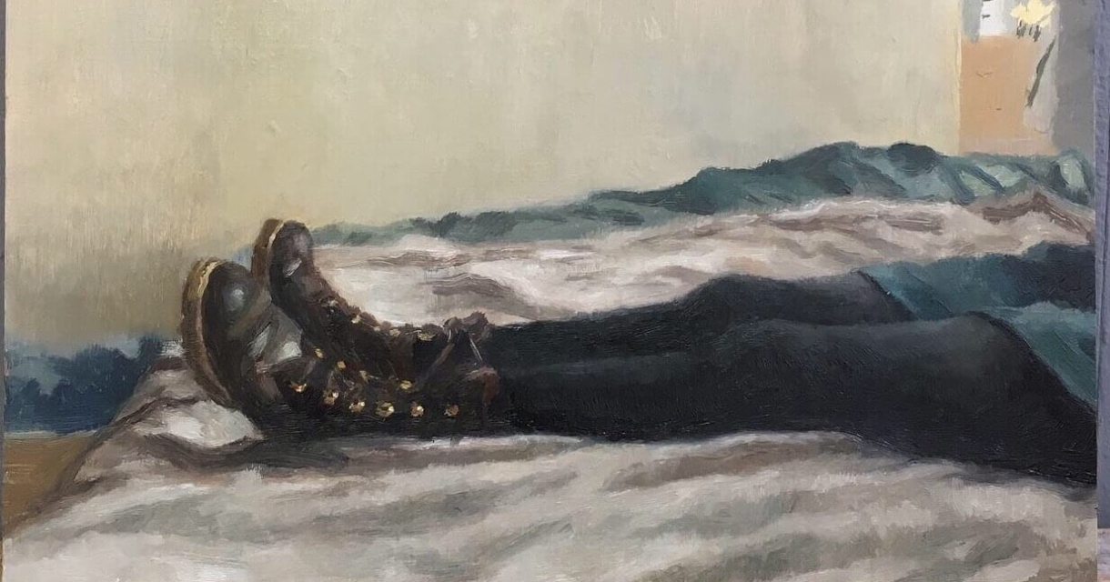 Painting of legs wearing leather boots lying on a bed