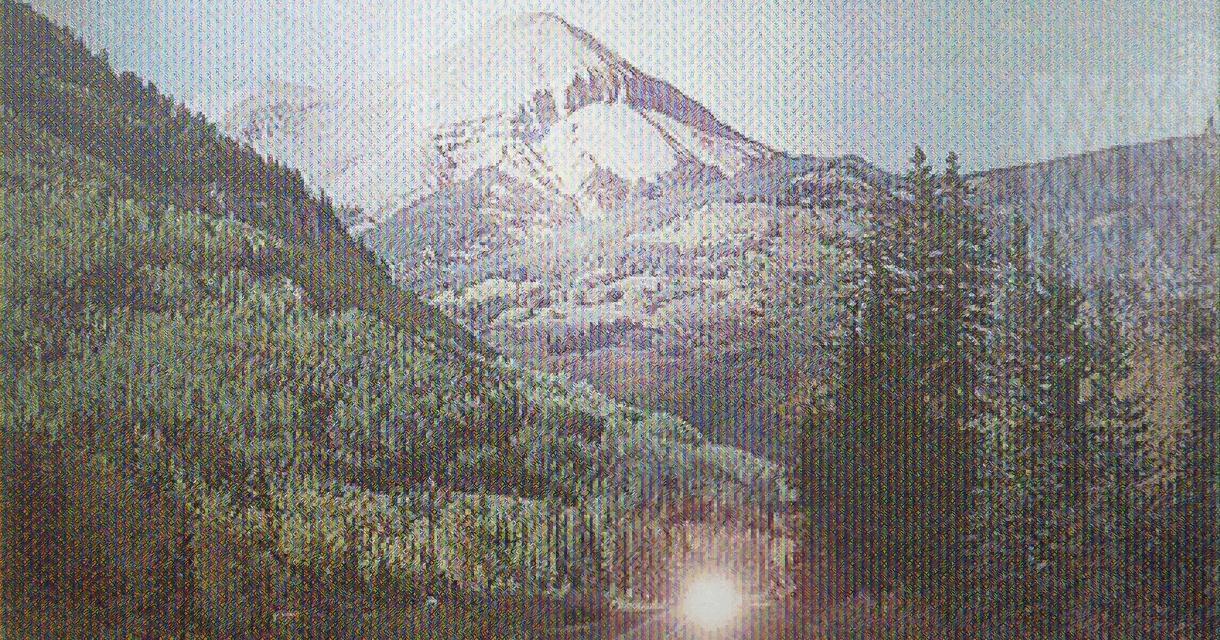 Pixelated mountain image.