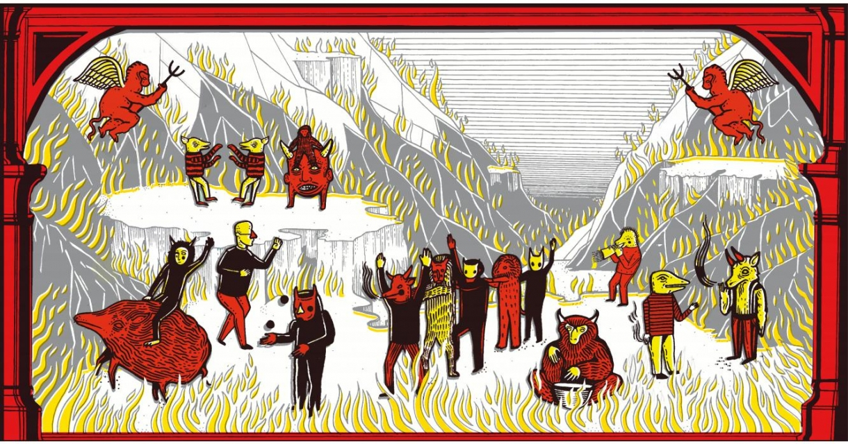 Folklore style illustration, creatures and fire in red, black and yellow.