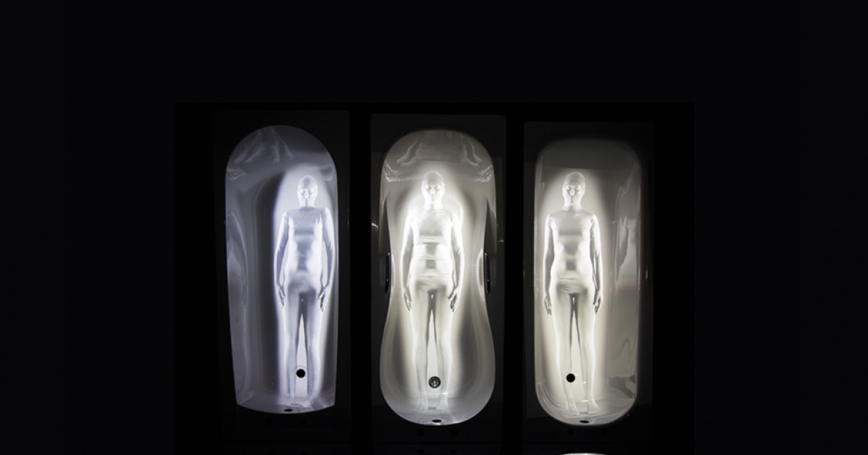 Three illuminated figures.