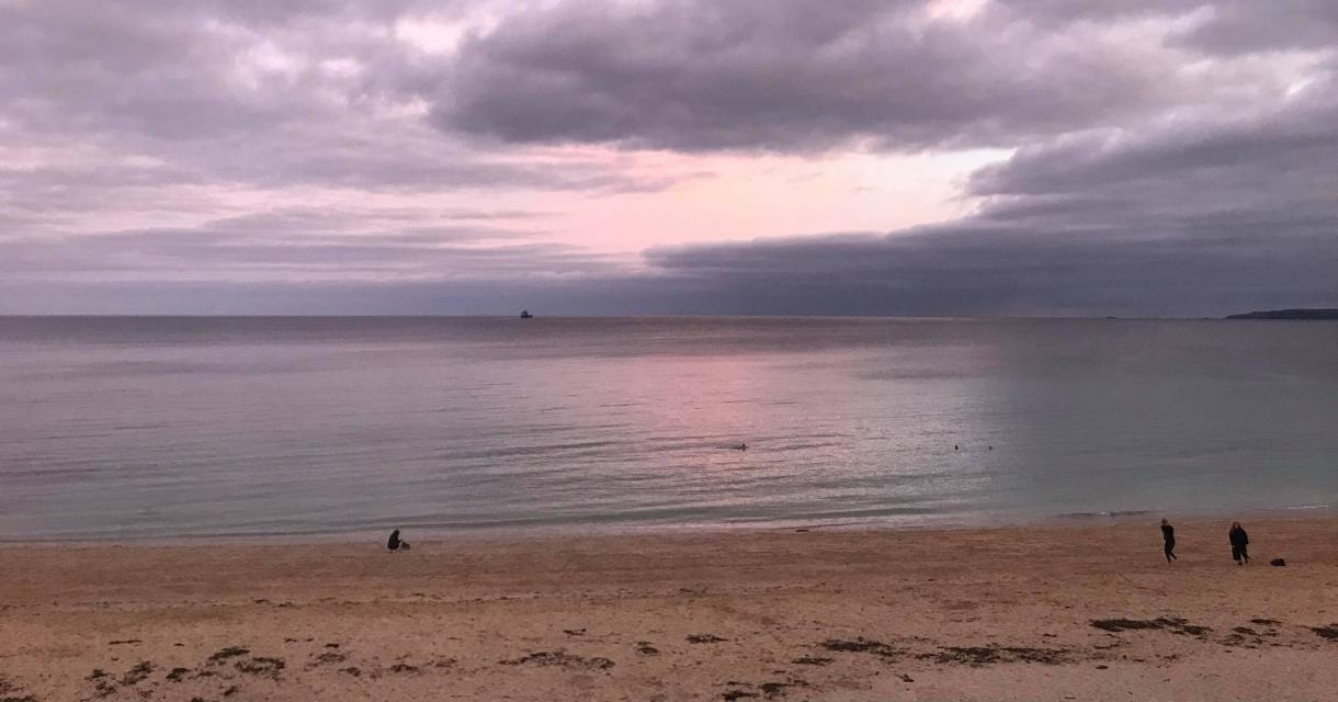 Sunset at Maenporth beach