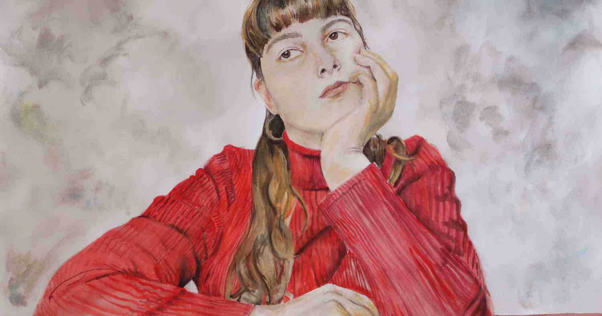 Painting of a girl holding her chin, wearing a red shirt