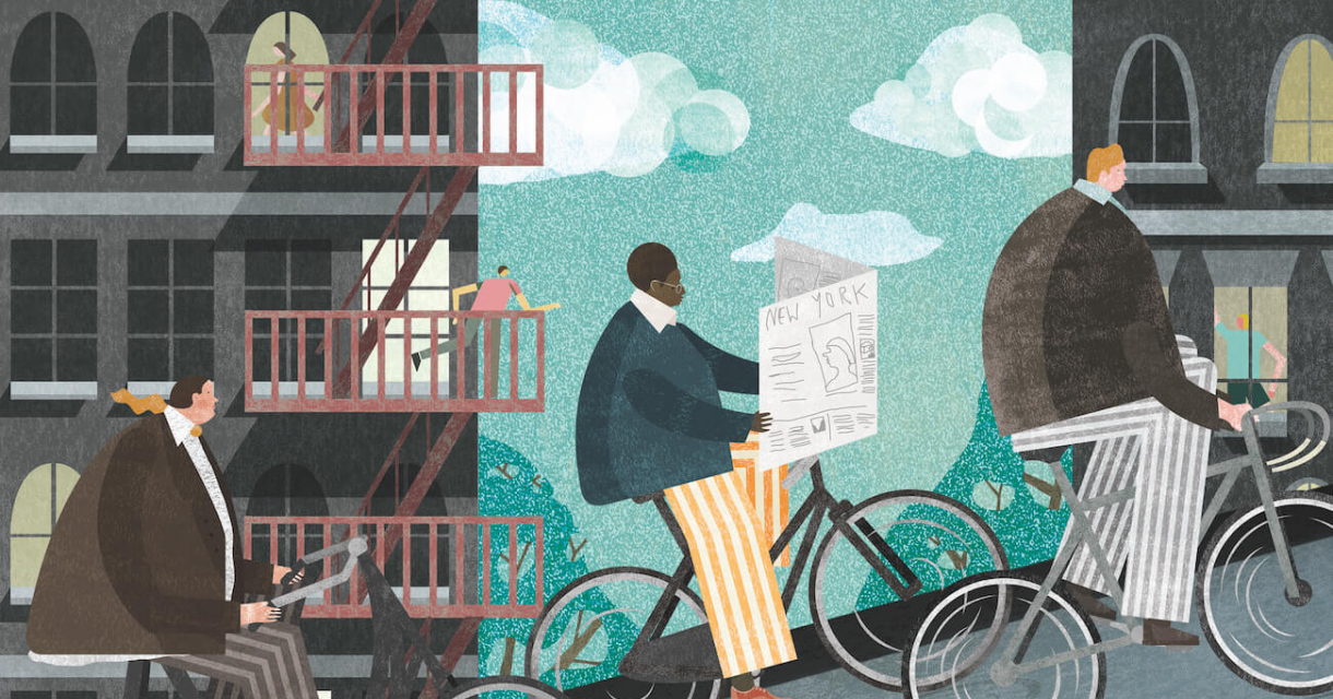 Illustration of large people riding uphill on bicycles in a New York city scene.