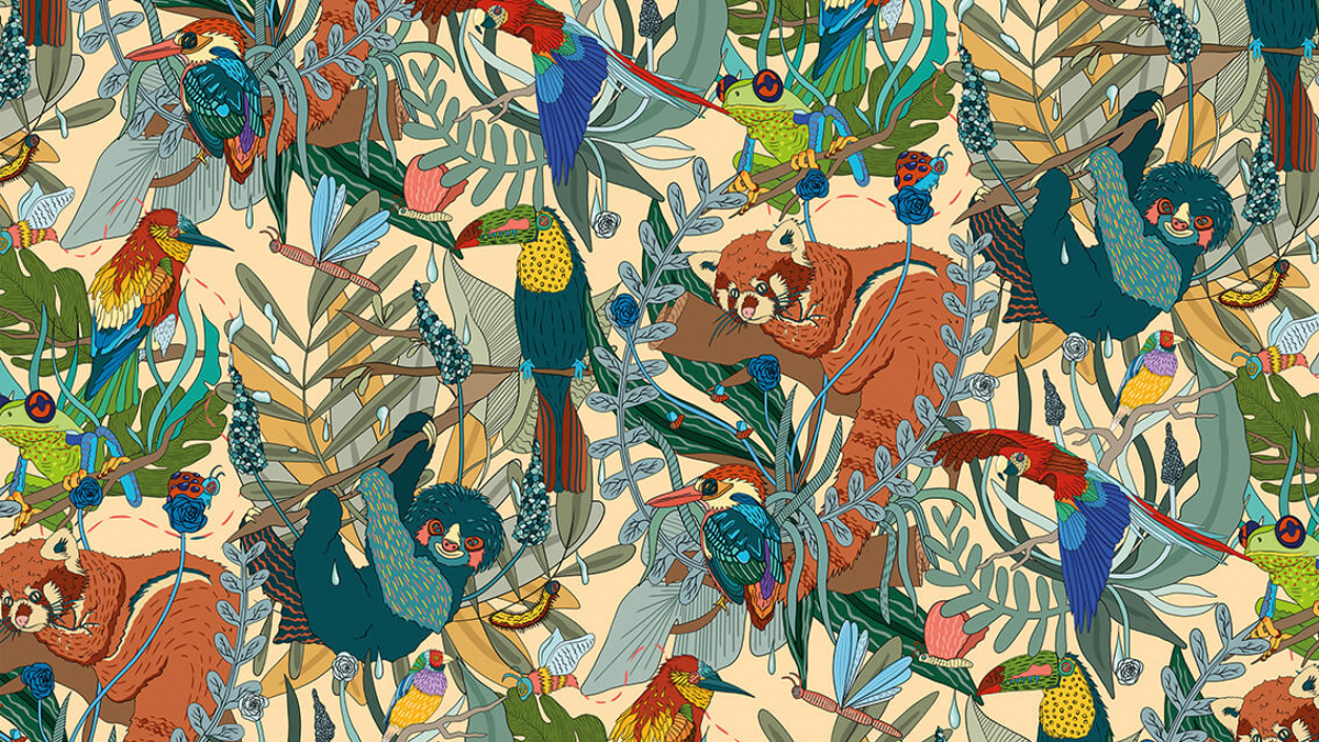 Textile design of monkeys, parrots and leaves