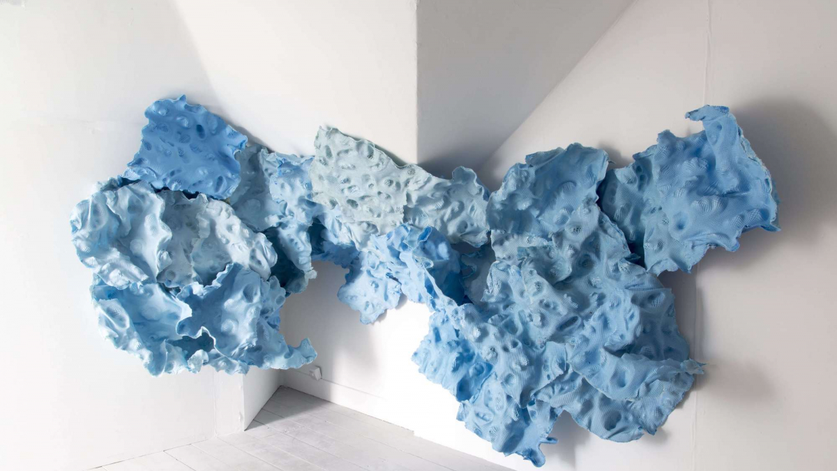 Falmouth University Fine Art installation of blue abstract sculpture