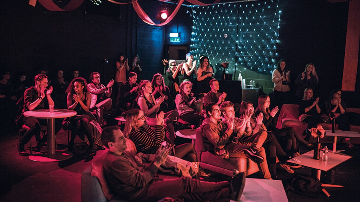 Audience at burlesque night at the performance centre