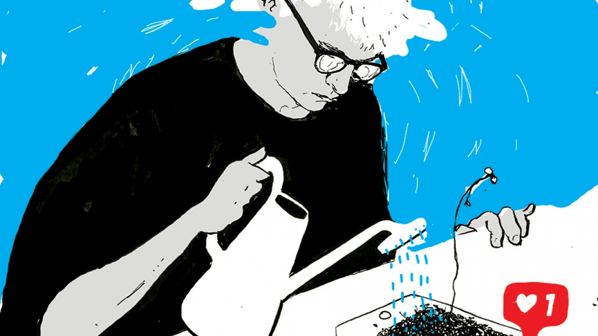 Illustration of man watering an iPad and that has things growing out of the screen and a heart shaped like symbol popping up.
