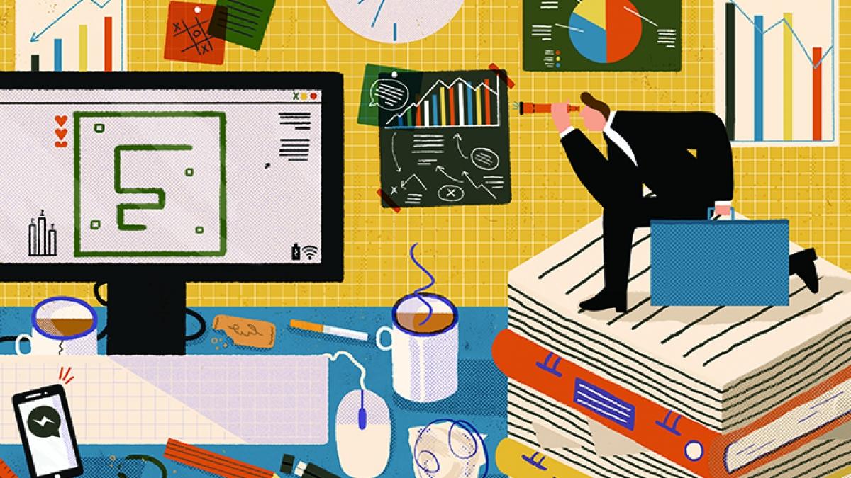 Illustration of chaotic desk space by Illustration student El Burnard.