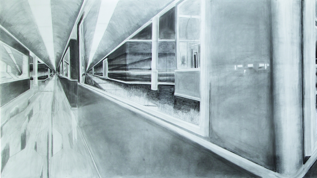 Pencil drawing of a hallway by Falmouth student Julia Watson.