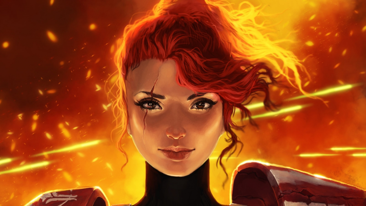 Digital female character with red hair and scar across eye and fire in backrgound.