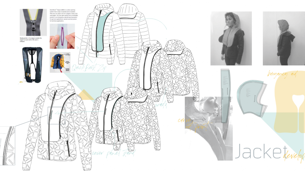 illustrations and photographs of Sportswear Design design student's work in progress