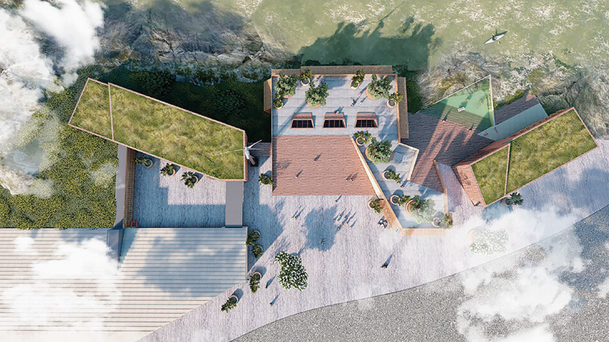 Aerial view of the Centre for Life on Scilly on the Isles of Scilly