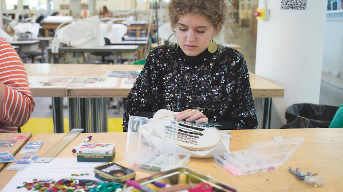 Textile Design student working in the studio