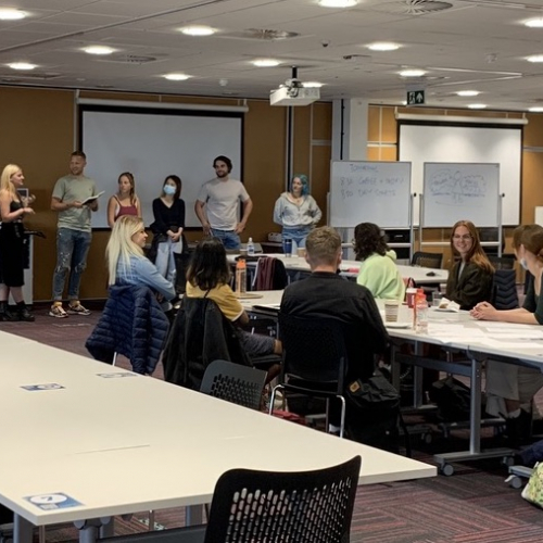 Students and recents graduates pitching their ideas at LEAP Summer School