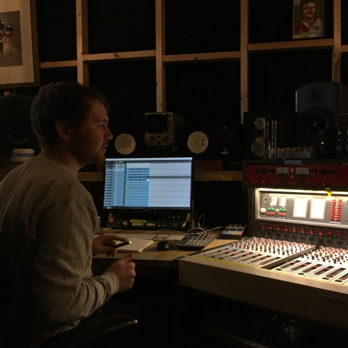 Creative Music Technology student Jack O'Hea in the studio