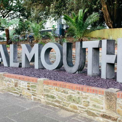 Large concrete letters spelling Falmouth.