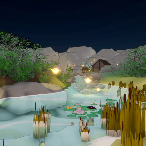 Still from a student game of a pond, reeds and rocks