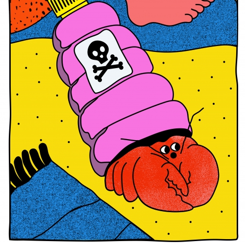 Illustration of hairy legs and a plastic bottle with a lobster coming out