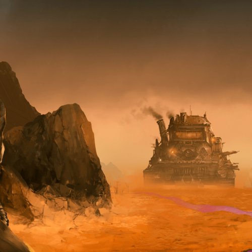 A game art still of a large tank in a rocky desert