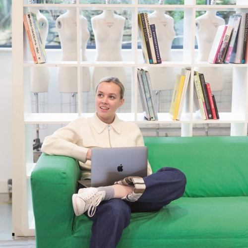 Fashion Marketing student Phoebe Jones in the studio