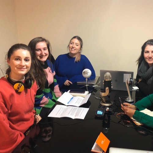 Group of women recording a podcast