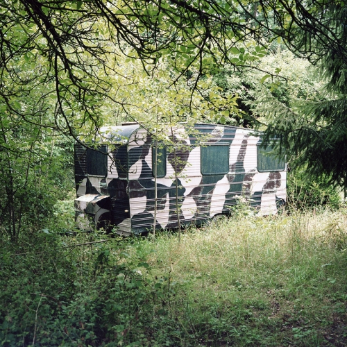 camouflage caravan within woodland