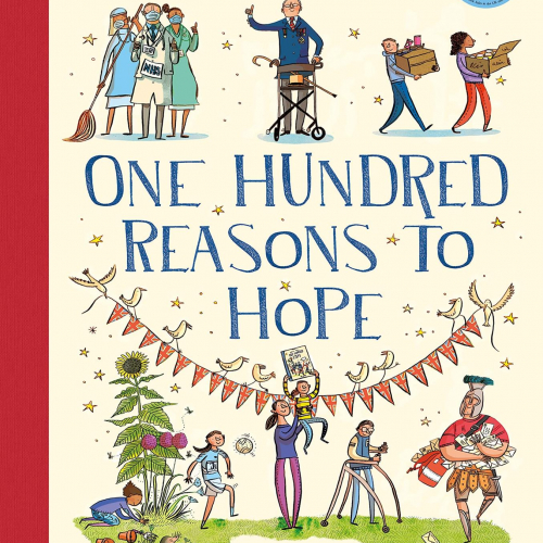 100 Reasons To Hope book cover shows cartoons of inspirational figures