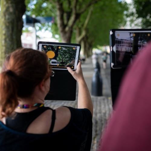 iPad in the street