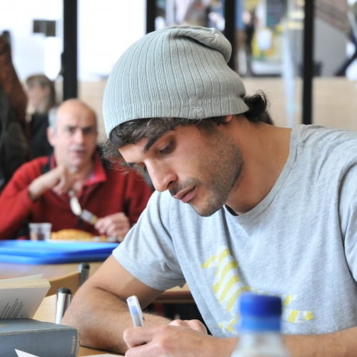 Student working in cafeteria