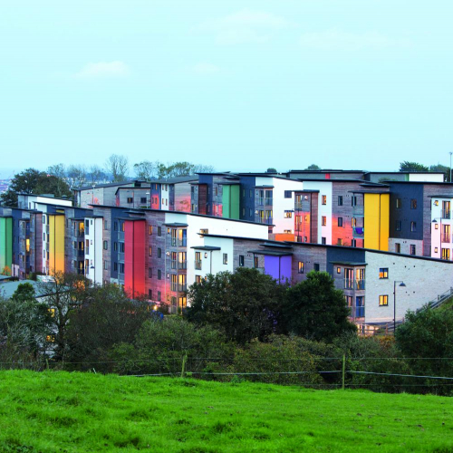 Colourful blocks of student accommodation on Penryn Campus