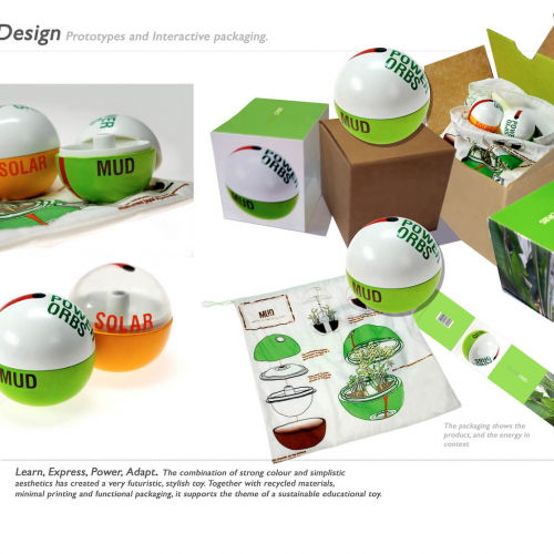 Sustainable Product Design concept for solar, wind and mud orbs