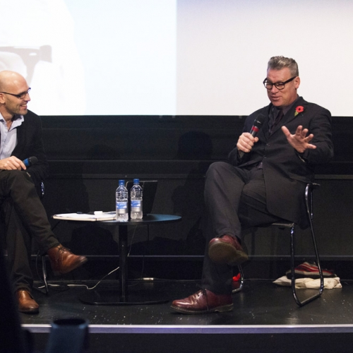 Mark Kermode in discussion on stage.