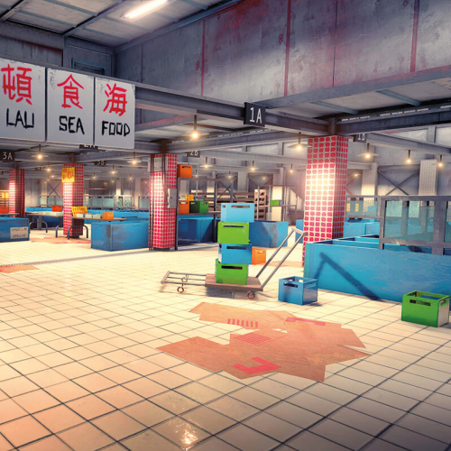 Game art still from a game of a japanese fish market