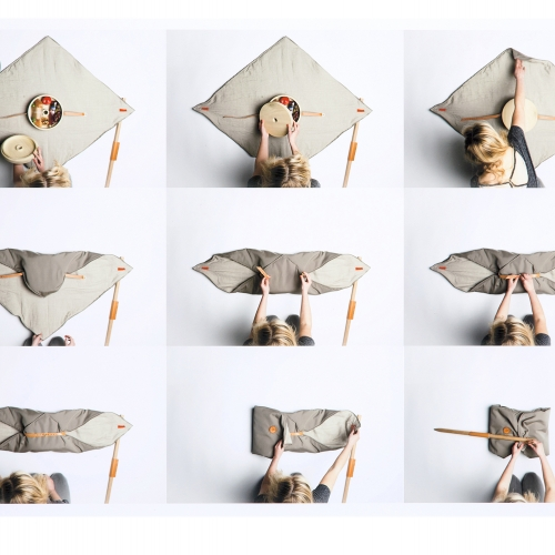 Folding picnic blanket design.