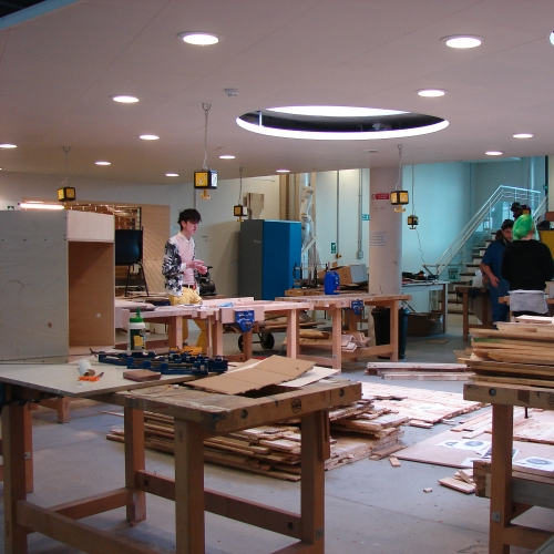 Students working in university facilities