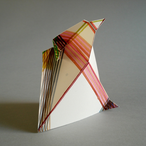 Folded paper with red lines