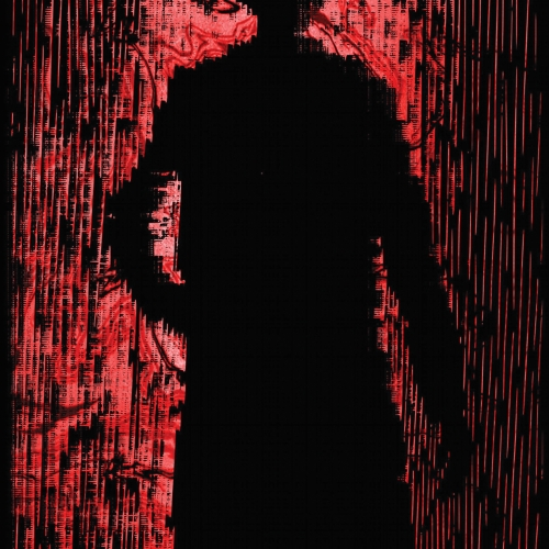 Black silhouette  on red and black background.