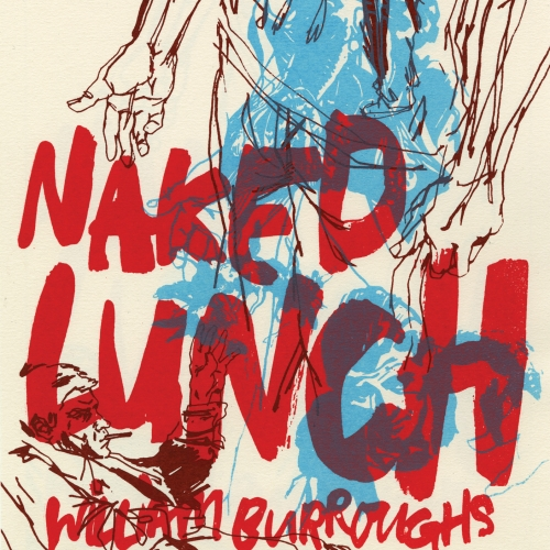Book cover, brown line drawings of figures overlaid with red text Naked Lunch.