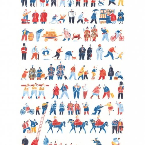 Illustration of various London based characters, guards, police, business men with bowler hats.
