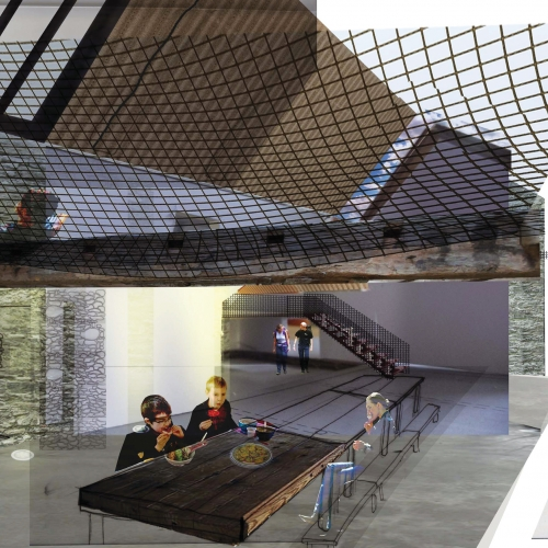 Mock up of interior with children eating at bench tables and net on the ceiling to lie on.