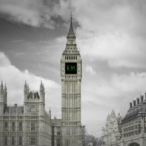 Big Ben with a digital clock face, on the river, London