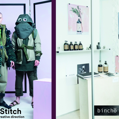 Models in chunky knitted green jacket and frog like hood with eye windows.