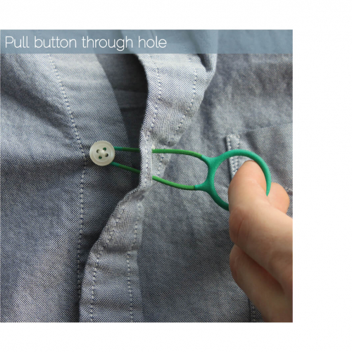 Green device to pull buttons through holes.
