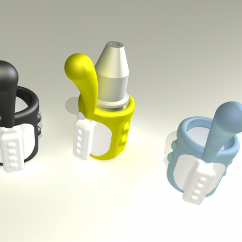 Digital mock ups of eye dropper design with arm to rest on face.
