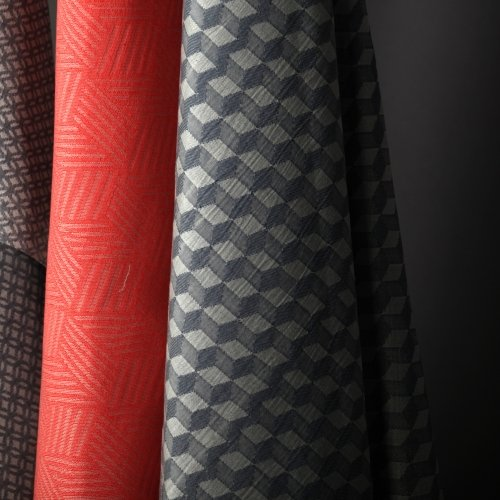 Grey and red fabric samples.