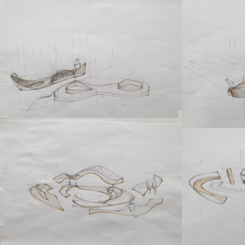 Four architectural sketches
