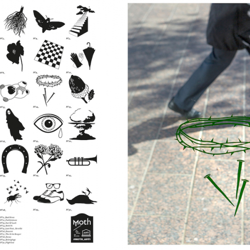 Double page spread of a man walking along a paved road and drawings of different objects