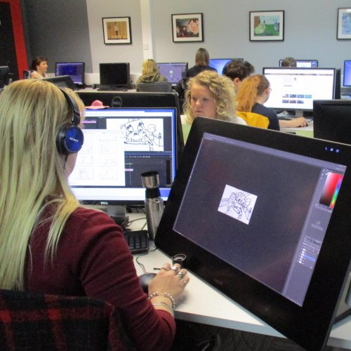 Animation student working in a computer suite at Falmouth University