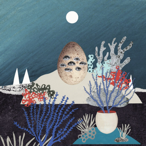 Underwater illustration. blue coloured plants and egg with multiple eyes, full moon.
